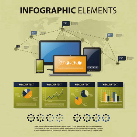 Vector set of infographic elements Vector