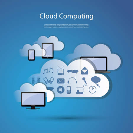 cloud tag: Cloud computing concept Illustration