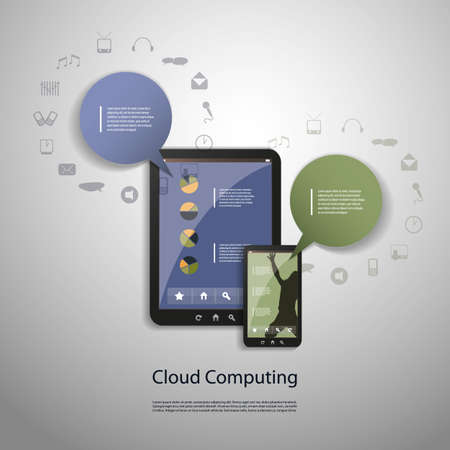 social system: Cloud computing concept Illustration