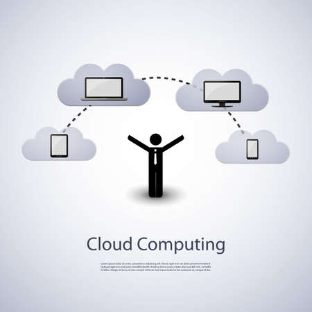 cloud network: Cloud computing concept Illustration