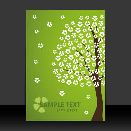Flyer or Cover Design - Spring time, Cherry blossoms  Vector