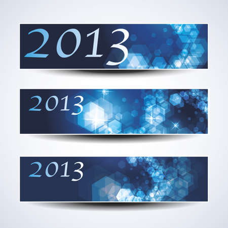 Set of horizontal New Year banners  Vector