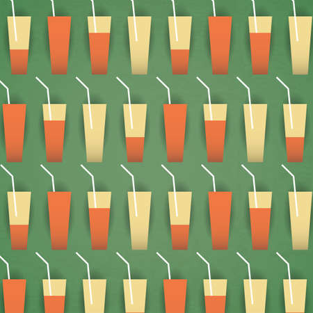 Glasses of Lemonade - Pattern Background  Vector