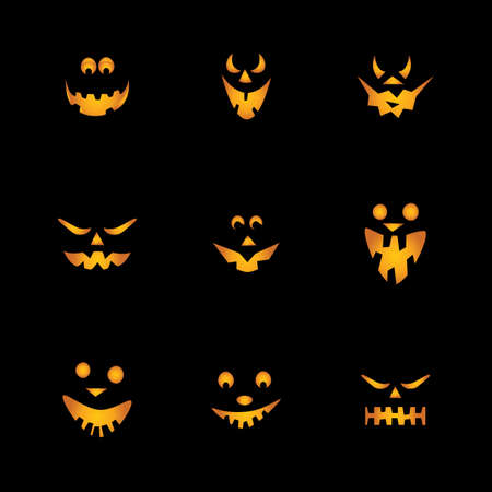 carved pumpkin: Halloween Pumpkins Background Illustration