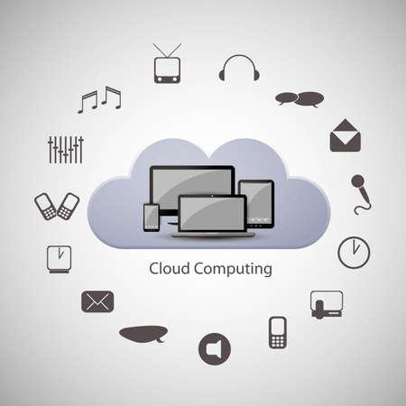 cloud computer: Cloud computing concept Illustration