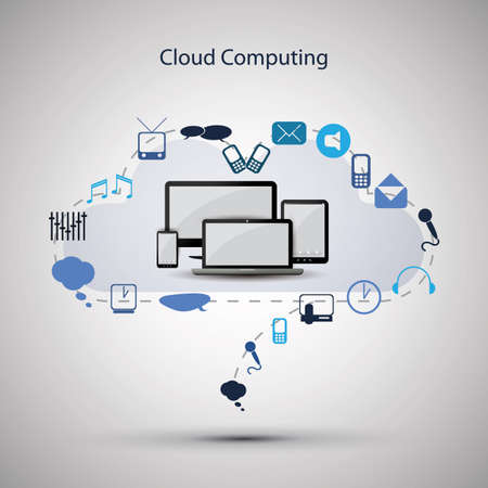telecommunication: Cloud computing concept Illustration