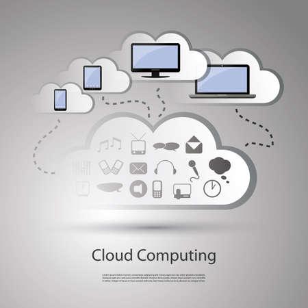 tag cloud: Cloud computing concept Illustration