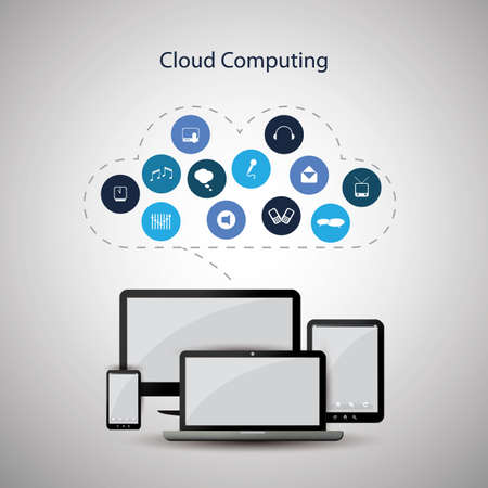 note pc: Cloud computing concept Illustration