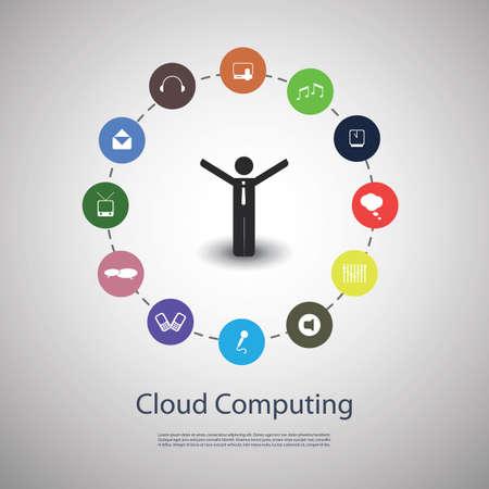 business team: Cloud computing concept Illustration