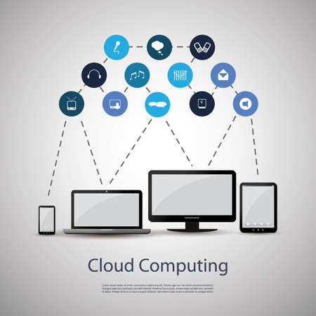 blue network: Cloud computing concept Illustration