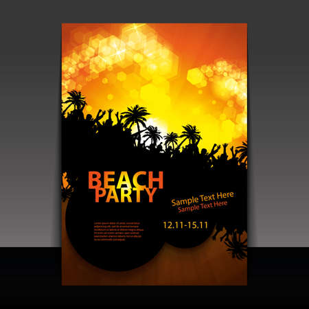 zomers meisje: Flyer of Cover Design - Beach Party Stock Illustratie