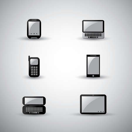 mobile device: Set of modern and vintage mobile gadgets