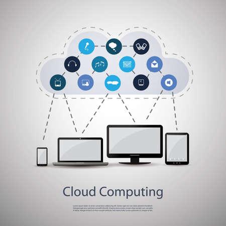 computer cloud: Cloud computing concept Illustration
