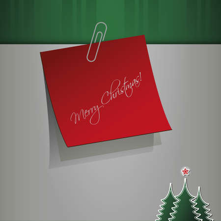 Merry Christmas - Notepaper Message Vector