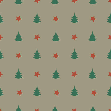 Seamless stars and pines background Vector