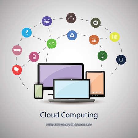 database icon: Cloud computing concept Illustration