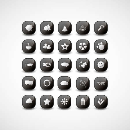 Black and White Icon Designs Stock Vector - 17129032