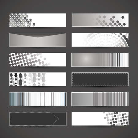 12 Black and White Blank Banner Designs  Stock Vector - 17137683