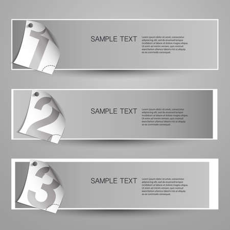 Three banner designs with numbers Vector