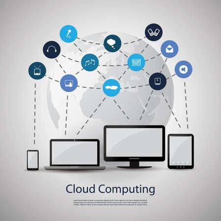 blue clouds: Cloud Computing Concept Illustration