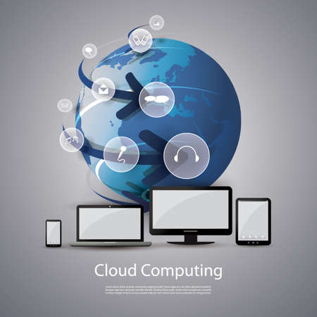 information technology icons: Cloud Computing Concept Illustration