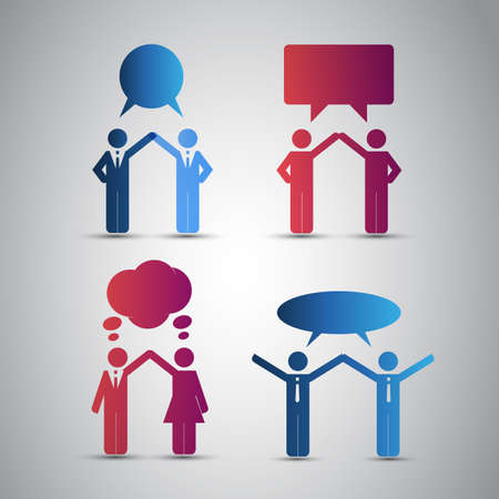 Peoples Icons with Speech Bubbles Stock Vector - 17749476