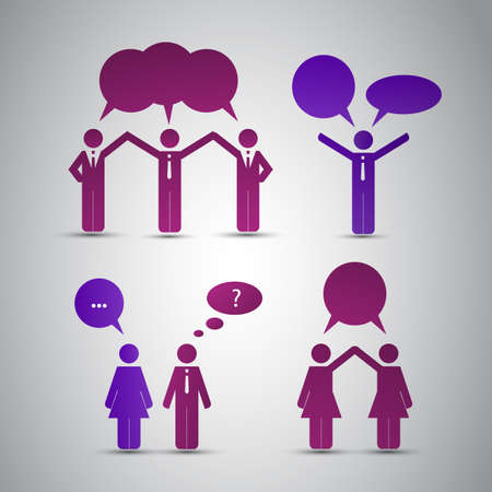 Peoples Icons with Speech Bubbles Vector