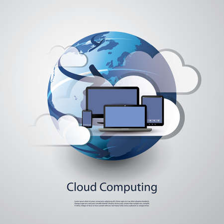 computer office: Cloud computing concept Illustration