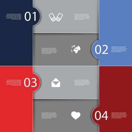 carmine: Infograf�a Portada - numerados dise�os de banner alicatado con iconos