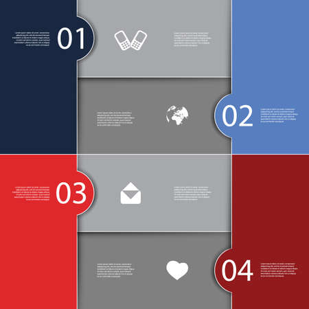 might: Infographics Cover - Numbered Tiled Banner Designs with Icons