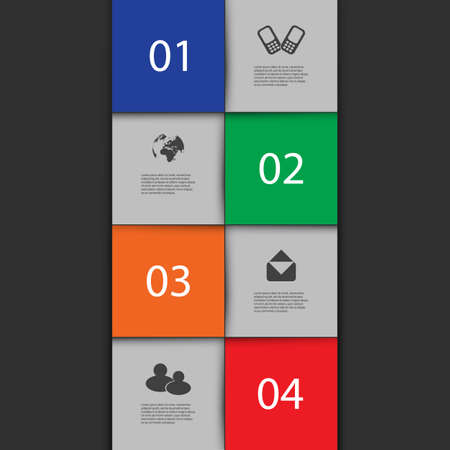 Infographics Cover - Numbered Tiles with Icons Vector