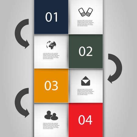 Infographics Cover - Numbered Tiles with Icons Stock Vector - 18181911