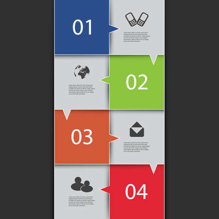 Infographics Cover - Numbered Speech Bubble Tiles with Icons Vector