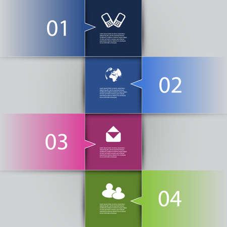 numbered: Infografica Cover - numerati Banner Design con icone