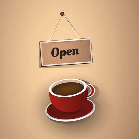 Open Sign with Coffee Cup Stock Vector - 18708955