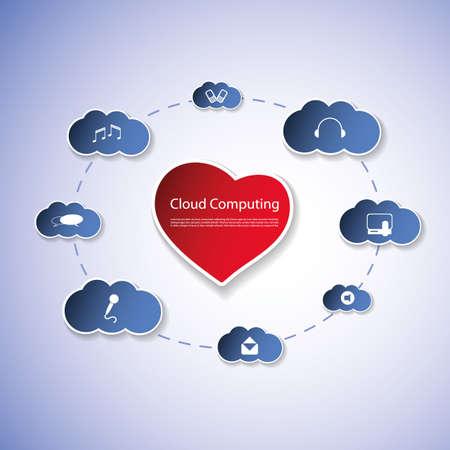 love cloud: Cloud Computing Concept Illustration