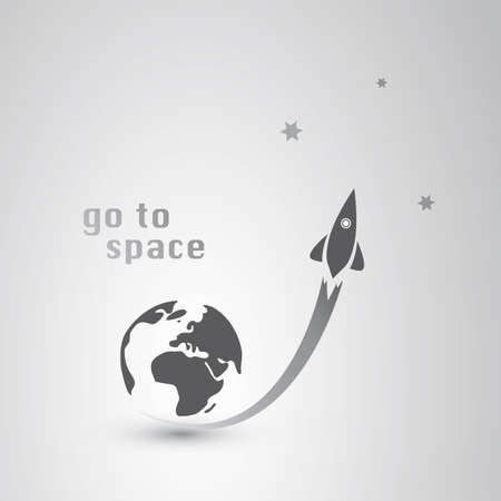 cartoon rocket: Go to Space Icon Illustration