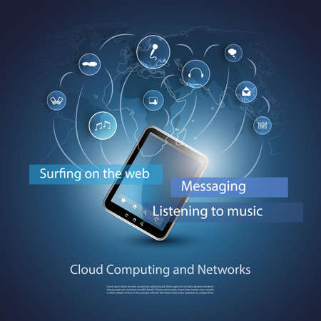 the blue cell: Cloud Computing Concept Illustration