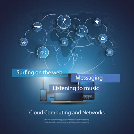 telecommunications technology: Cloud Computing Concept Illustration