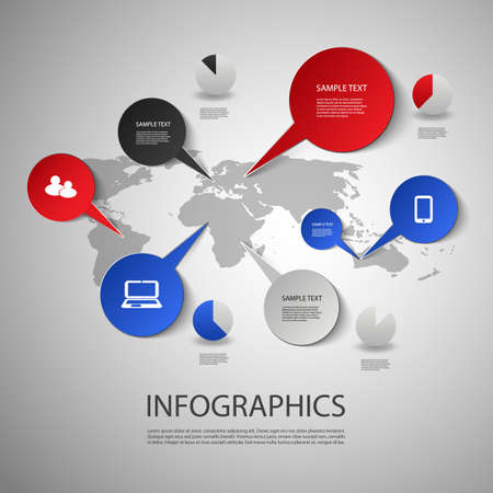 Infographic Design - World Map and Icons Vector