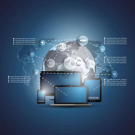 сеть: Концепция облачных вычислений Иллюстрация