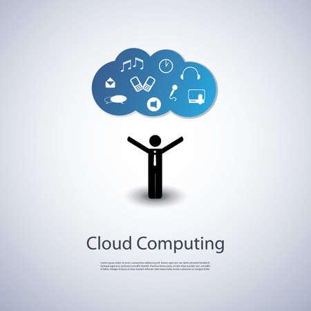 information technology: Cloud Computing Concept Illustration