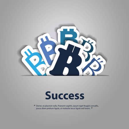 monetary concept: Success - Bitcoin Monetary Concept Illustration