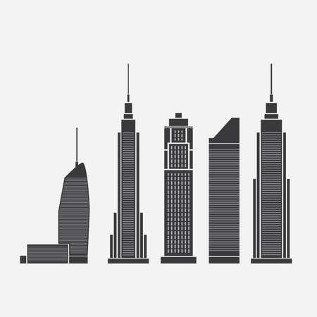 arquitectura: Iconos Rascacielos Vectores