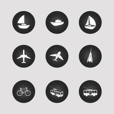 tallship: Transportation Icons Set Illustration