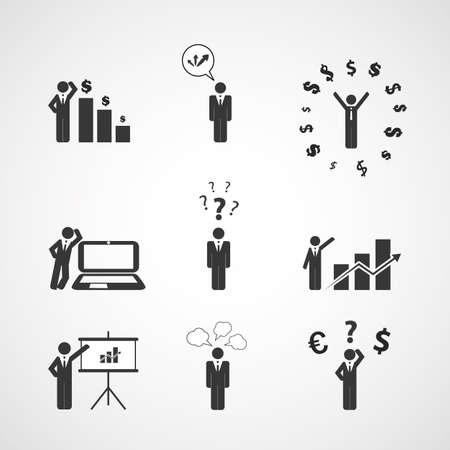Cijfers, Peoples Icons - Business Concept Vector Illustratie