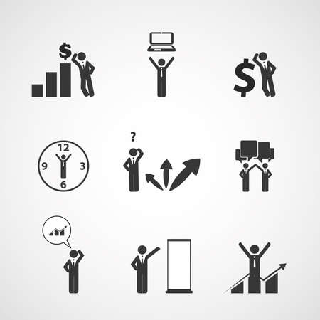 show time: Figures, People s Icons - Business Concept Illustration