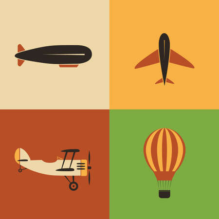 biplane: Retro Aircraft Icon Designs Illustration