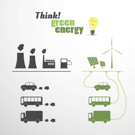 connected world: Green Energy - Eco Vector Illustration  Illustration