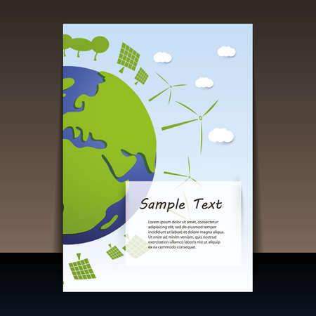 environmentally: Environmentally Friendly Planet - Flyer Vector Illustration Illustration